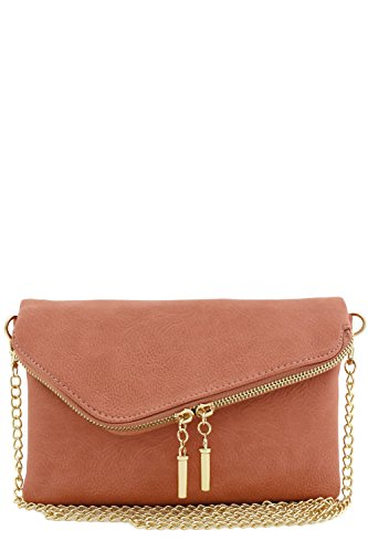 (Envelope Wristlet Clutch Crossbody Bag with Chain Strap (Mauve))