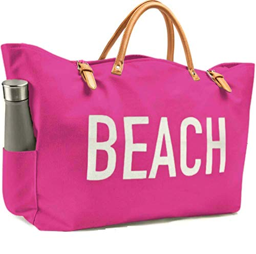 KEHO Fashion Beach Bag (Cute Travel Tote), Large and Roomy, Waterproof Lining, Multiple Pockets For Storage (Pink) -