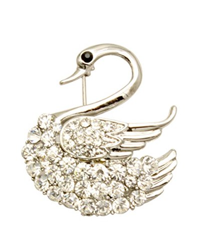 NYfashion101 Rhinestone Studded Body & Wing Graceful Swan Brooch (Graceful Swan)