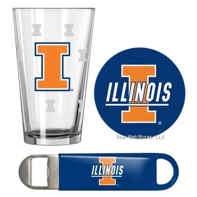 NCAA Illinois Pint Glass, Bottle Opener & Coasters Set | Illinois Illini Game Day Gift - Dorm Illini Fighting Illinois