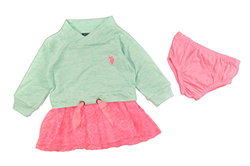 U.S. Polo Assn. Baby-Girls Newborn French Terry Mock Neck and Neon Lace Dress, Mint, 18 (French Terry Mock Neck)