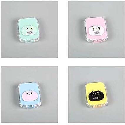 1piè ce Chat mignon Lentilles de contact de stockage de support Mini Eye Care Kit Box pour filles (alé atoire), beige CN