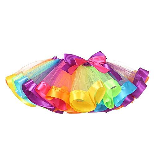 TRADERPLUS Little Girls Layered Rainbow Ribbon Tutu Skirt Dress Ballet Tiered (Medium 4-6 -