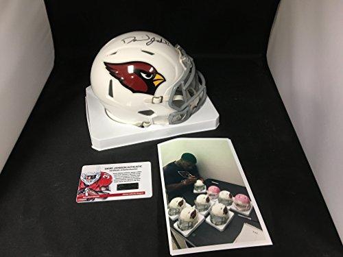 Johnson Autographed Mini Helmet (David Johnson Signed Autographed UNI Arizona Cardinals Mini Helmet Witnessed COA & Hologram W/Photo From Signing)