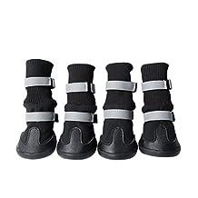 Waterproof Dog Boots Paw Protectors UEETEK Non Slip Dog Shoes Black Set of 4 size M