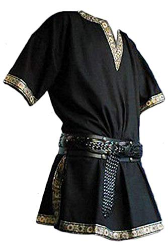 Men's Vintage Medieval V-Neck Shirt Pirate Warriors Costume Gothic Short Sleeves Viking Clothing (L, Black)