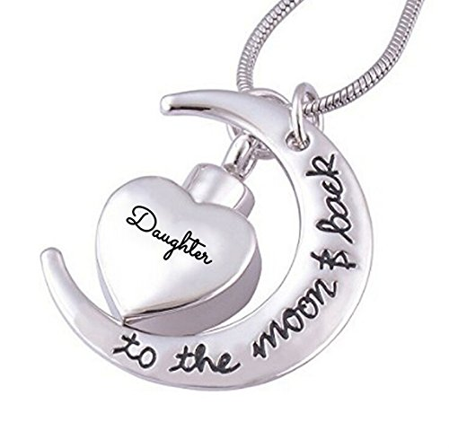 Beydodo Stainless Steel Ashes Necklace Daughter Cremation Urns Heart Crescent Shaped Memorial Jewelry (Urn Bottle Beer)
