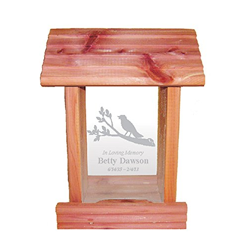 Personalized Memorial Bird Feeder - Hanging Cedar Wood Bird Feeder with Custom Engraved In Loving Memory Inscription & Choice of Theme Sympathy Gift Made in USA (Bird on Branch)