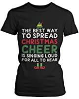 Women's Black Cotton T-Shirt - Best Way to Spread Christmas Cheer Graphic Tee