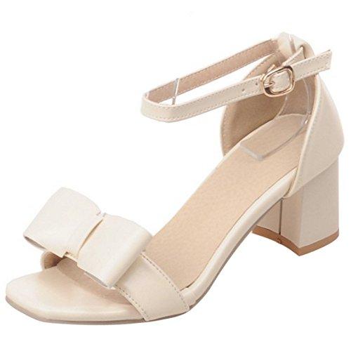 COOLCEPT Mujer Moda Al Tobillo Sandalias Punta Abierta Tacon Ancho Zapatos With Bowknot Beige