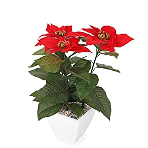 Closer2Nature Artificial 1ft 5″ Red Poinsettia Plant