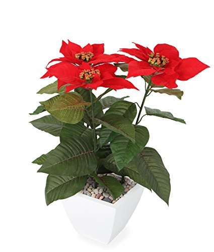 "Closer2Nature Artificial 1ft 5"" Red Poinsettia Plant"