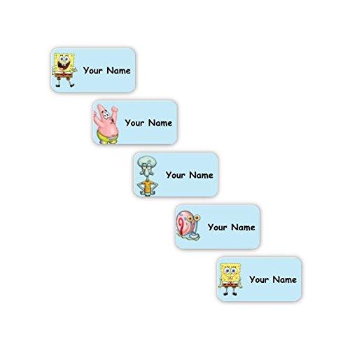 Laundry Personalized (SpongeBob SquarePants Personalized Waterproof No-Sew Laundry Safe Stick-on Labels for Clothing (SpongeBob SquarePants)
