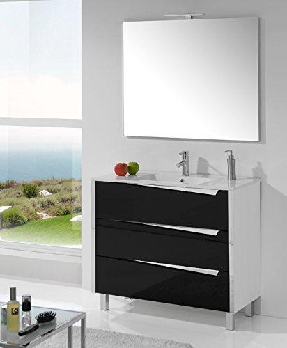 Conjunto de baño OLIVIA con mueble de 3 cajones, 100x45x85 cm. Armario y espejo