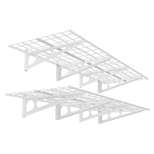 FLEXIMOUNTS 2-Pack 2x6ft 24-inch-by-72-inch Wall Shelf Garage Storage Rack Floating Shelves, White by FLEXIMOUNTS