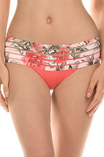 Isabella Rose Women's Rose Banded Hipster Bikini Bottom Melon L (Water Melon Bikini)