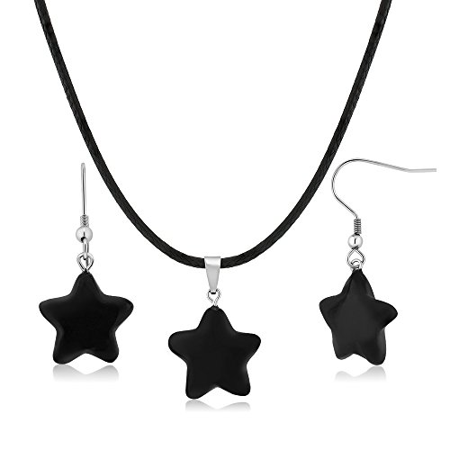 Gem Stone King Beautiful Star Shape Black Agate Necklace Set with Matching Agate Stone Earrings