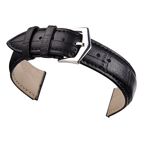 22mm Black Watch Straps Genuine Calfskin Leather Padded Matt Finish tang Buckle Standard Length