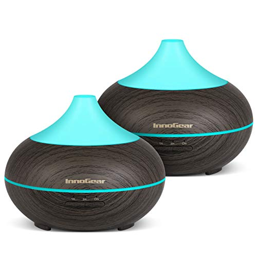 InnoGear 2 Pack 150ml Aromatherapy Essential Oil Diffuser Wood Grain Aroma Diffusers Cool Mist Humidifier with Timer Adjustable Mist 7 Color Changing Night Lights Waterless Auto Shut-off 41MUarzk6PL