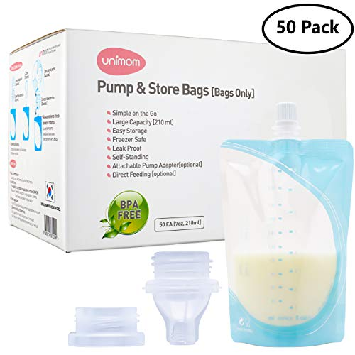 Unimom 50 Breastmilk Storage Bags - 7oz - Pump Breast Milk Directly Into Bag with Included Universal Adapter - Self Standing, Leak Proof, BPA Free, Pre Sterilized - Graduated Measurements