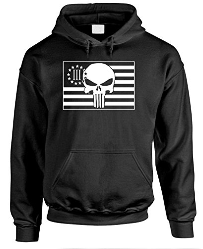 THREE PERCENTER FLAG WITH SKULL - america - Mens Pullover Hoodie, L, Black