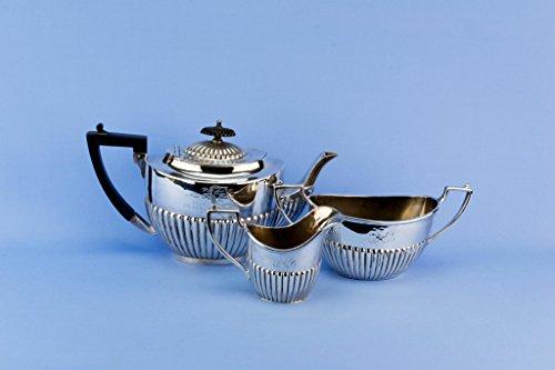 1930s Silver Plated Tea Set Trio Martin Hall Teapot Sugar Bowl Creamer English Vintage