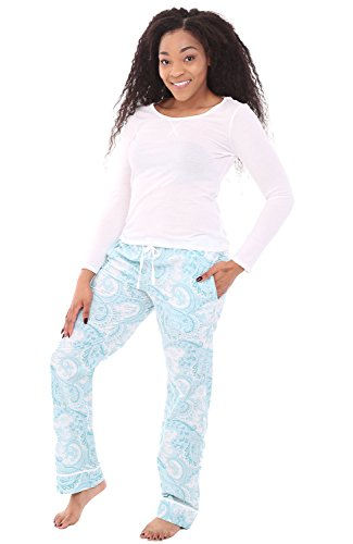 Halloween Family Home Evening Activities (Alexander Del Rossa Womens 100% Cotton Pajamas, Long Knit Top Woven Bottom Pj Set, XL Light Blue Paisley with White Top)