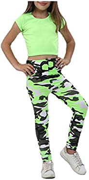 Rimi Hanger Girls Plain Crop Top Camouflage Trouser Set