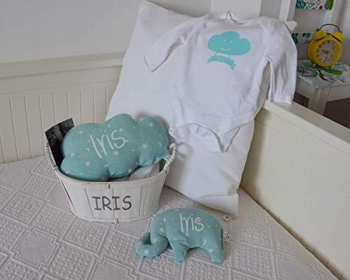 Canastilla bebé personalizada. Regalo original para un recién nacido, personalizado y hecho a mano. Incluye saco térmico (alivia cólicos), cojín nube ...