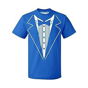 P&B Tuxedo White Funny Men's T-shirt, L, Royal