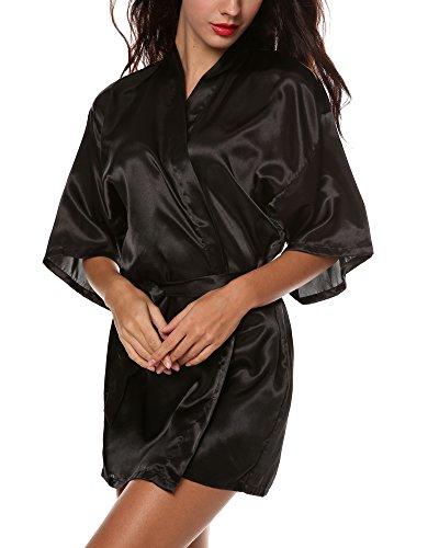 Avidlove Women's Kimono Robe Satin Lounge Bridesmaids Short Style (M, Black (Short Satin Robe)