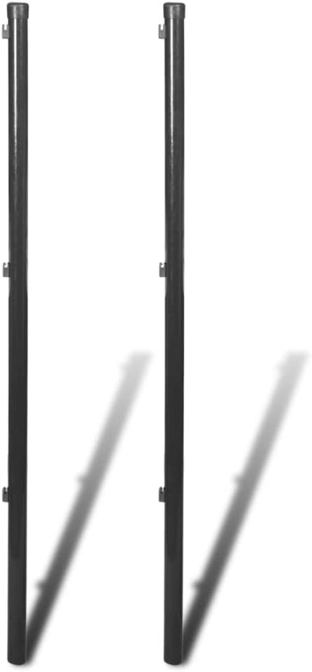 vidaXL 2x Postes de Valla Malla Metálica 195 cm Gris Estaca Cerca Reja Cercado