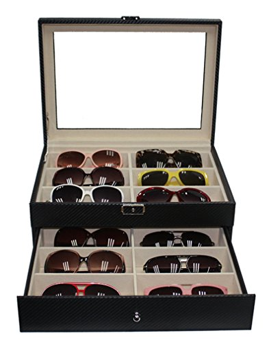 12 Sunglasses Case with Drawer Extra Large Black Carbon - Carbon Sunglass Case Fiber