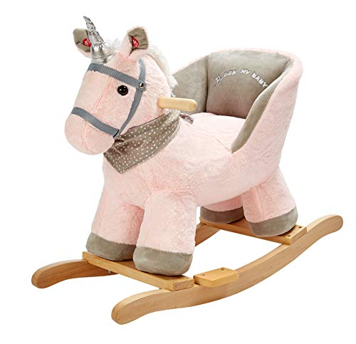 Rock My Baby Pink Rocking Unicorn with Chair,Plush Stuffed Animal Rocker,Wooden Rocking Toy Unicorn/Baby Rocker/Animal Ride on,Home Decor,for Girls,Indoor&Outdoor (Pink Unicorn) by Rock My Baby