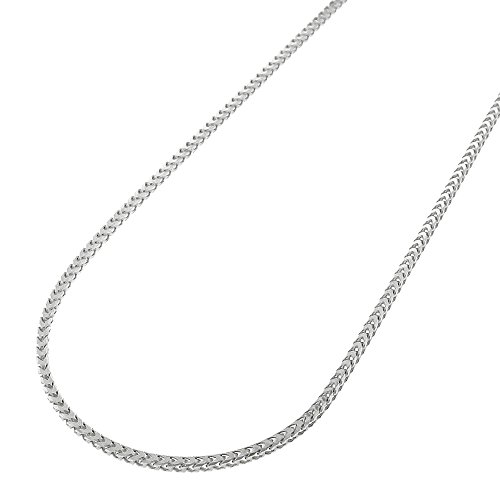Sterling Silver Italian 1mm Solid Franco Square Box Link 925 Rhodium Necklace Chain 16 - 30