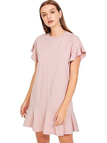 Verdusa Women's Round Neck Flounce Short Sleeve Ruffle Hem Tunic Dress Pink XS
