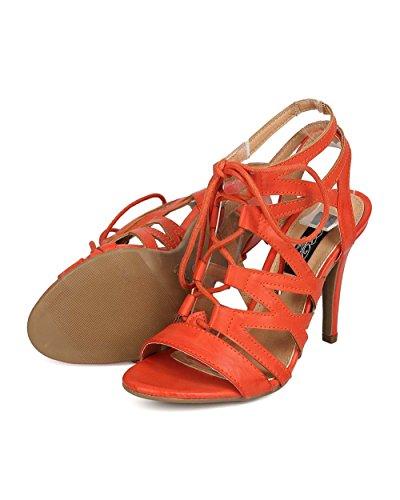 Dbdk Eh83 Sandalo Stiletto Aperto In Similpelle Con Fibbia - Arancione