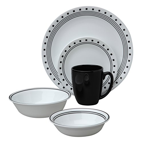 Corelle Livingware City Block 30-Piece Dinnerware Set, Service for 6 (30 Pieces Dinnerware Set)