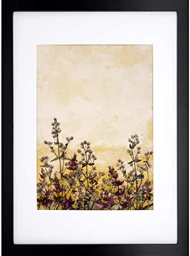 Kid2 Real Dried Pressed Flowers Art-Framed Painting Modern Home Decor Desk Stand and Tapestry Hanging Wall Art,Wood Frame 71 Black,13 x 18