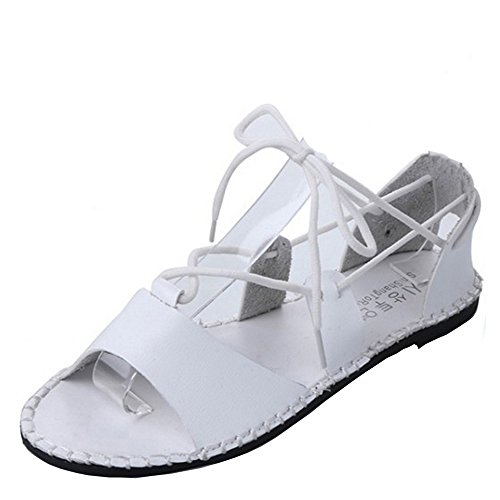 COOLCEPT Mujer Moda Bohemian Beach Planos Sandalias Gladiator Cordones Zapatos Blanco