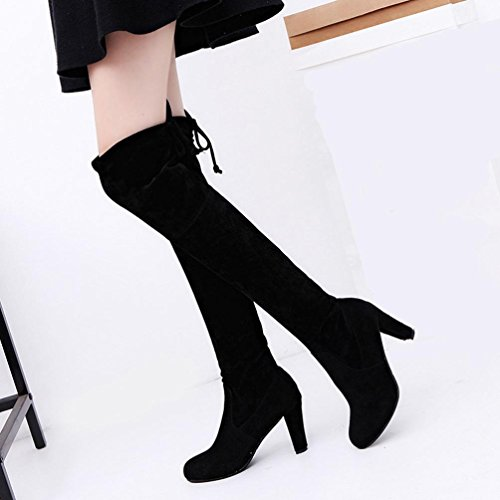 OverDose Frauen Damen Matte Leder Feste Farbe Stretch Dünne Hohe Stiefel Overknee Stiefel Absatz Schuhe A-Schwarz