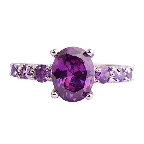 Emsione 925 Sterling Silver Plated Created Purple Amethyst Womens Ring