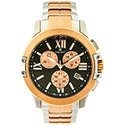 Oskar Emil Fresno Two Tone Rose Gold Ip Plated and Stainless Steel Mens Chronograph Quartz Watch with Black Dial Chronograph Display and Rose Gold Stainless Steel Plated Bracelet Fresno RG