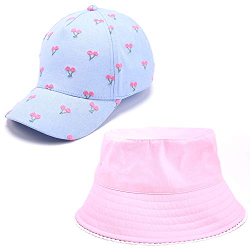 accsa Kid Girl's Beathable Cotton UPF50+ Sun Protection Baseball Cap and Bucket Wide Brim Summer Hat Set 2 Pack for Age 2-8Y