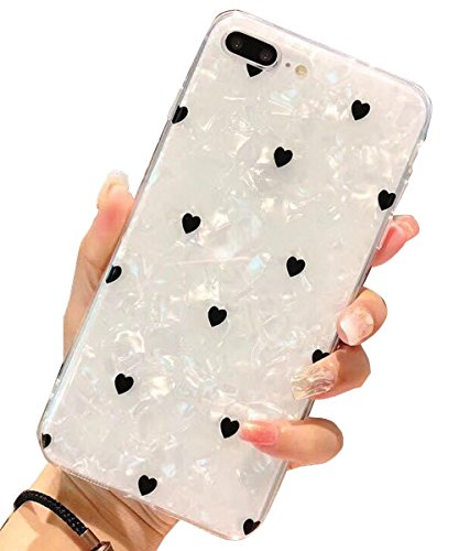J.west iPhone 8 Plus Case,iPhone 7 Plus Case, iPhone 7 Plus TPU Case Luxury Sparkle Bling Crystal Clear Soft TPU Silicone Back Cover for Girls Women for Apple 5.5 iPhone 8 Plus/7 Plus(Heart)