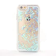Happy Hours - For Apple iPhone 5G/ 5S Bling Sparkle Shining Glitter Heart Shape Flow Sand Dynamic Liquid Quicksand Clear Sandglass Hard Case Cover Protection, Skyblue