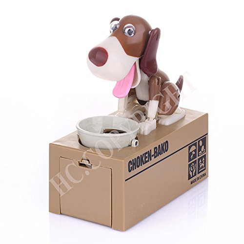 Hungry Dog - Classical Automated Money Saving Box Robot White Brown Hungry Dog Coin Band Piggy Bank Gift - Faster Sign Bank Shirt Bowl Magnet Motor Skills Dogs Hungry Game Piggy Treats M -