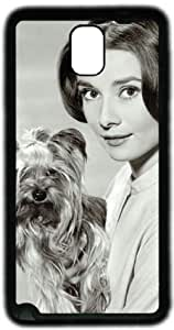 Kind Audrey Hepburn with Dog Samsung Galaxy Note 3 N9000 Case, Soft Material TPU Black Skin Protector Cover DIY by Hahashopping