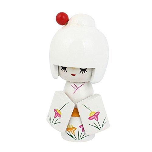 eDealMax Bois traditionnel japonais Kimono Doll Toy Bureau Dcoration Artisanat Cadeau Blanc