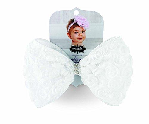Mud Pie Baby-Girls White Rosette Bow Soft Headband, 12 Months